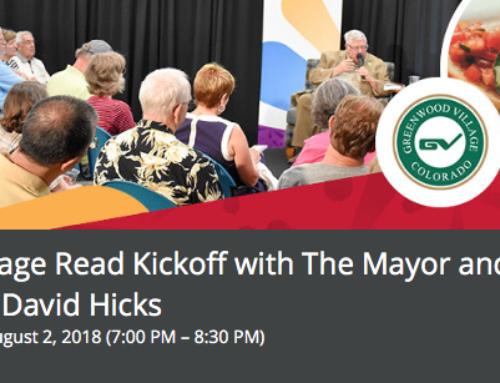 "2018 ""Village Read"" Kickoff! David to Be Interviewed by Greenwood Village Mayor on August 2"